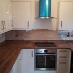 Newly installed wooden work top in kitchen