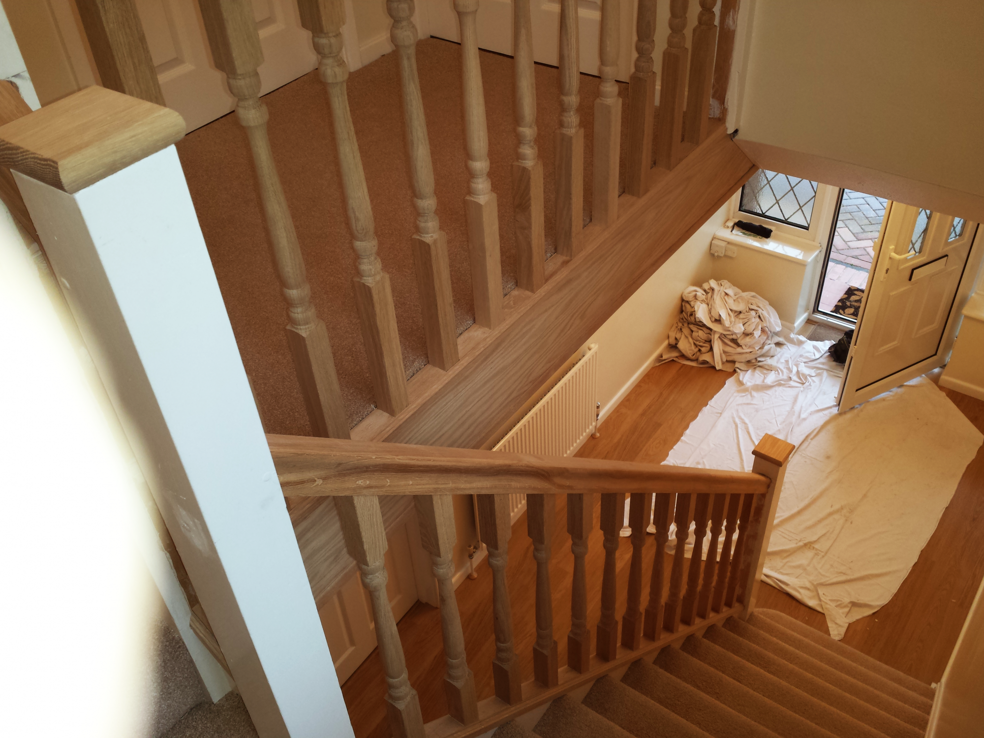Newly completed wooden banister
