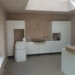 Bespoke kitchen installation, white cabinets
